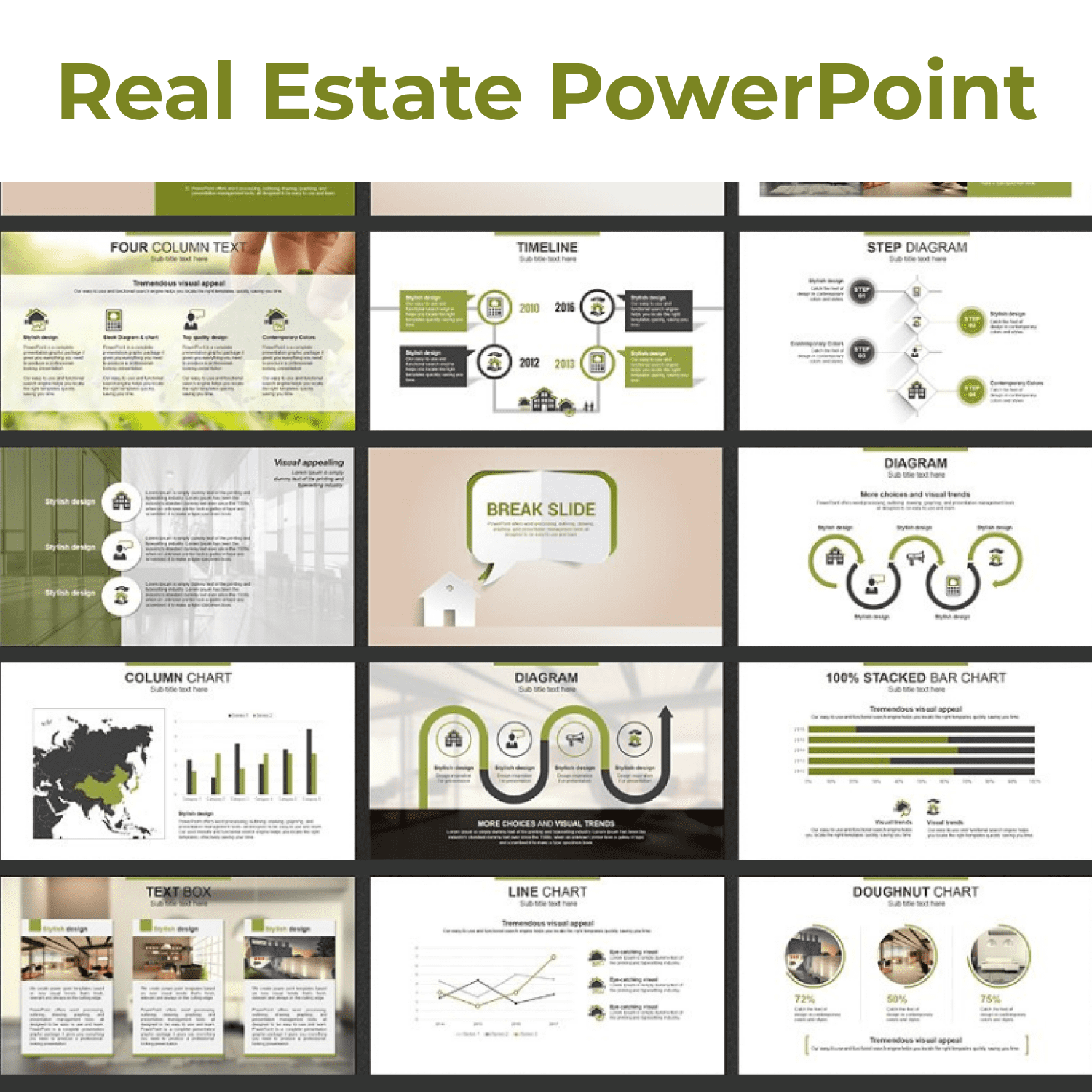Real Estate PowerPoint Template by MasterBundles Collage Image.