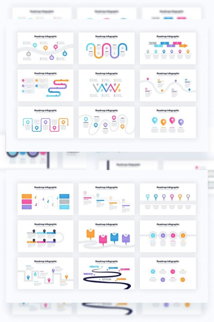 Roadmap Powerpoint Infographics by MasterBundles Pinterest Collage Image.