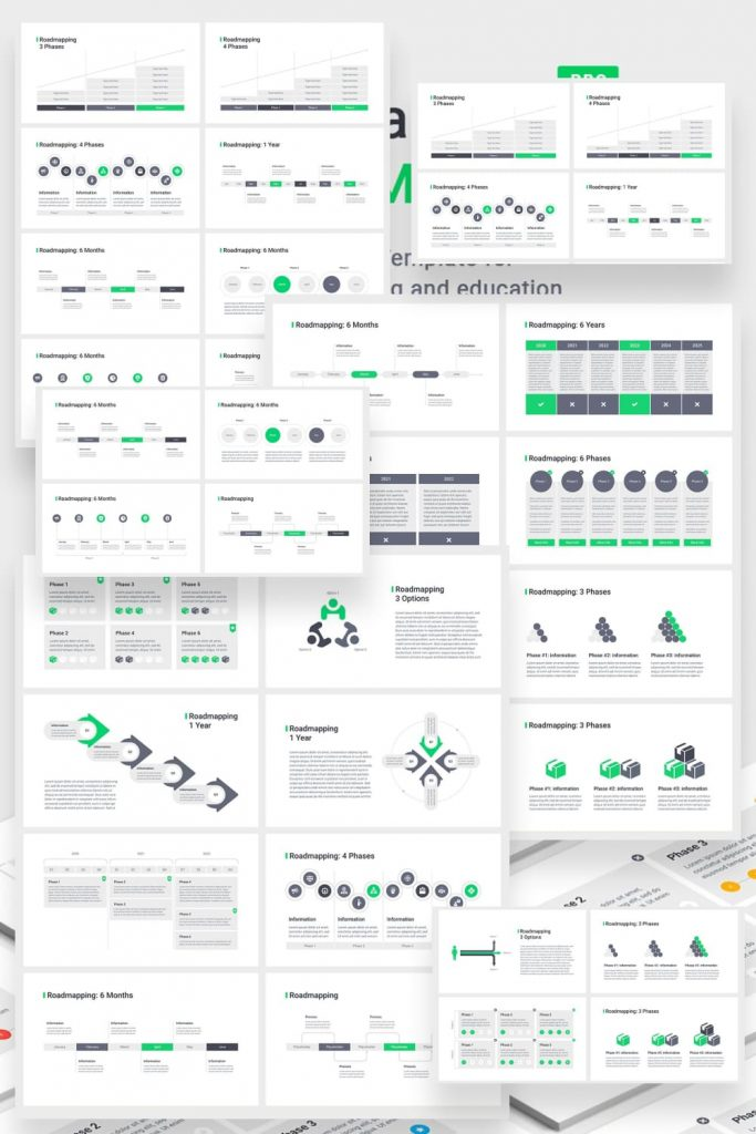 Roadmapping for PowerPoint by MasterBundles Pinterest Collage Image.