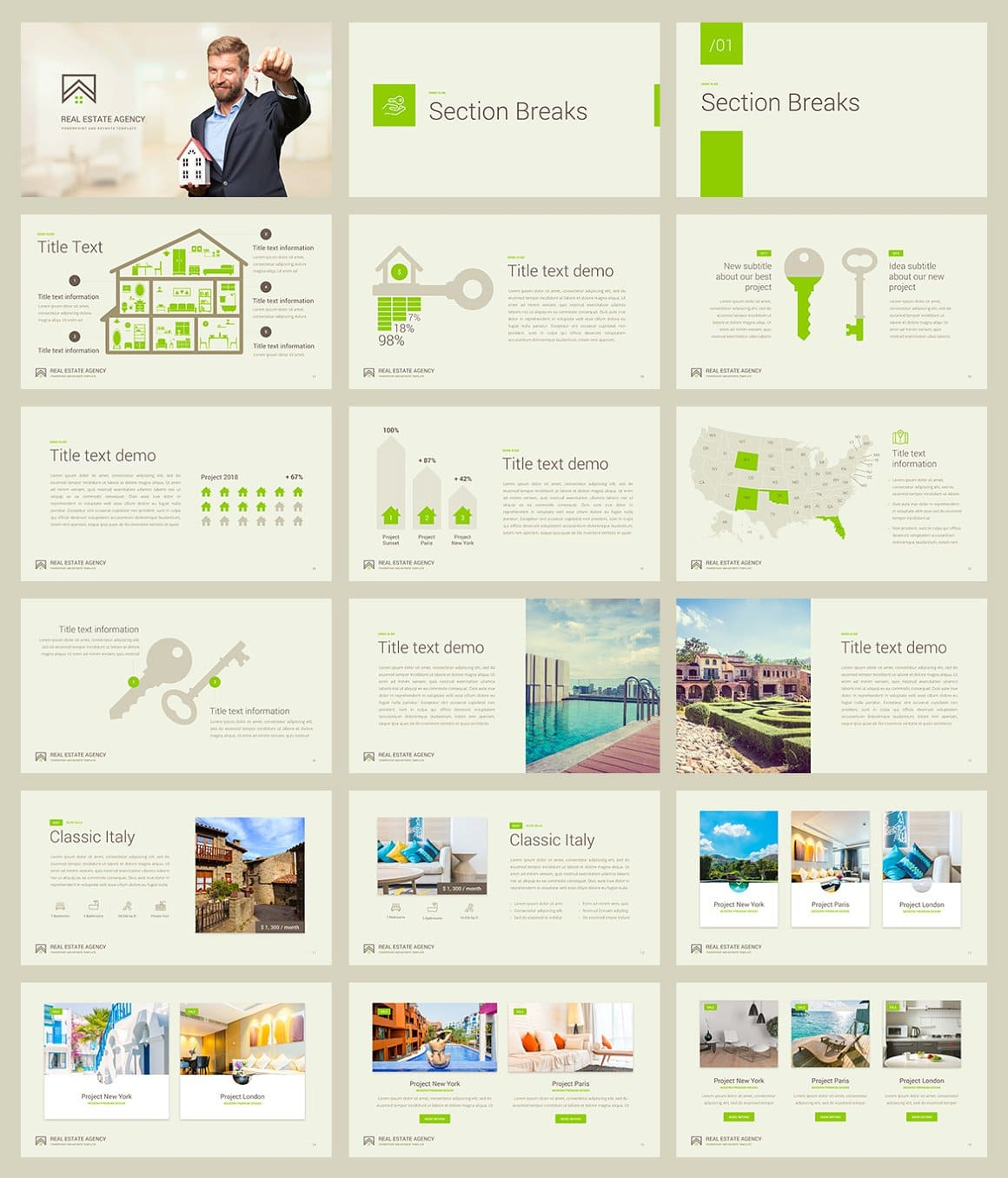 Sample Real Estate PowerPoint Template slides.