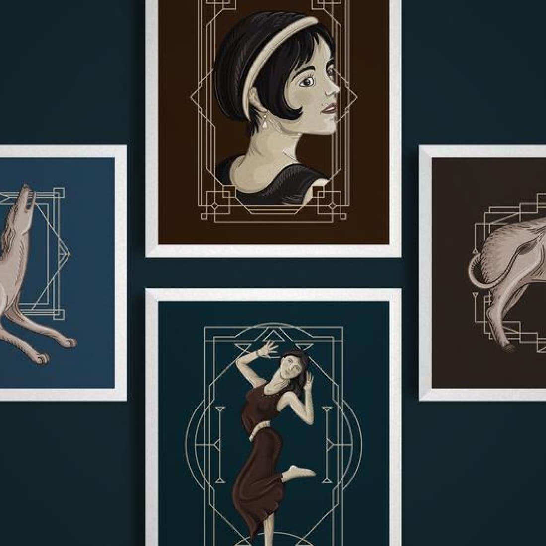 Art Deco illustrations – Ai EPS PSD preview image.
