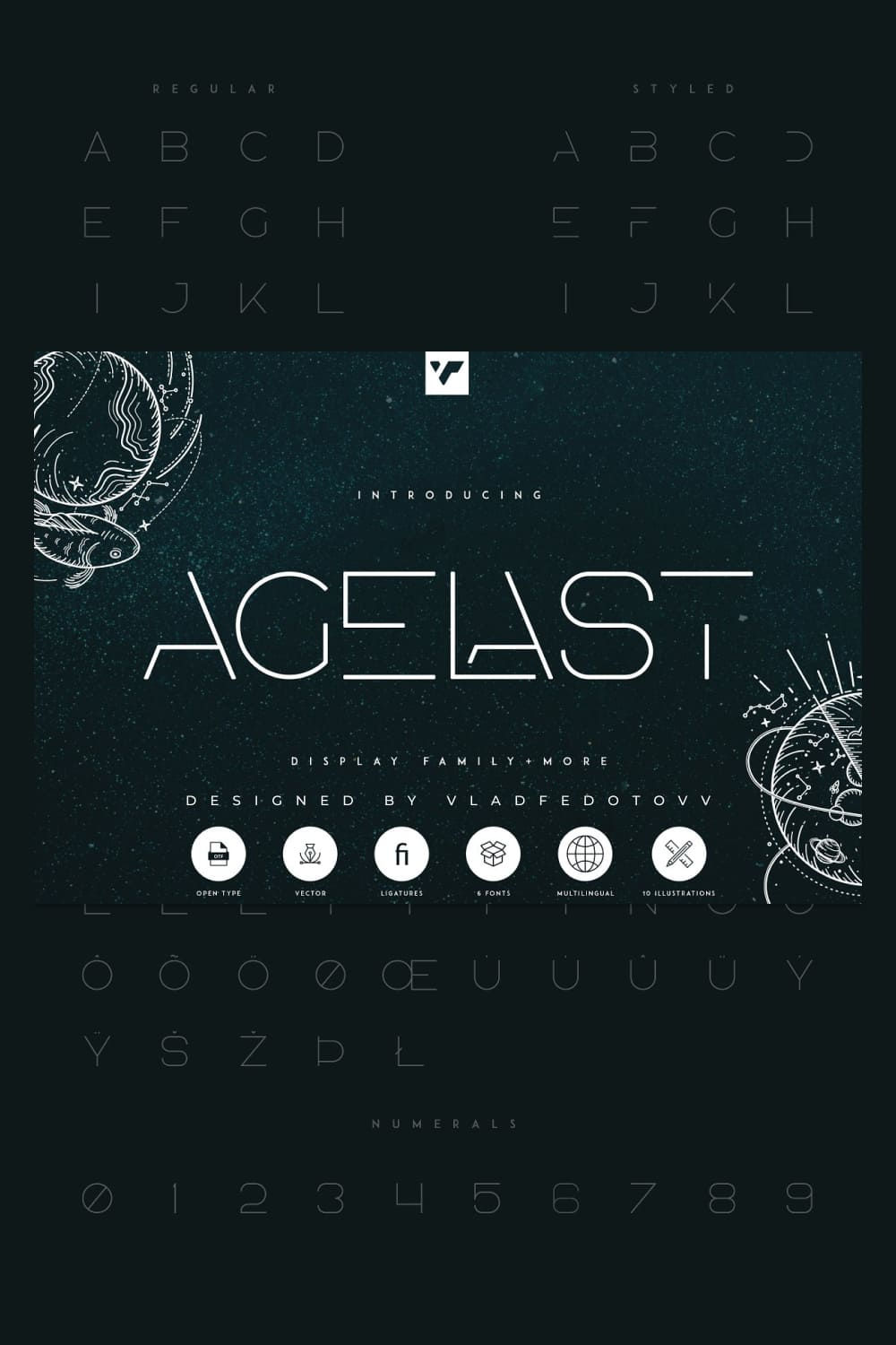 02. Agelast Display Font 10 Graphics Pinterest cover image.