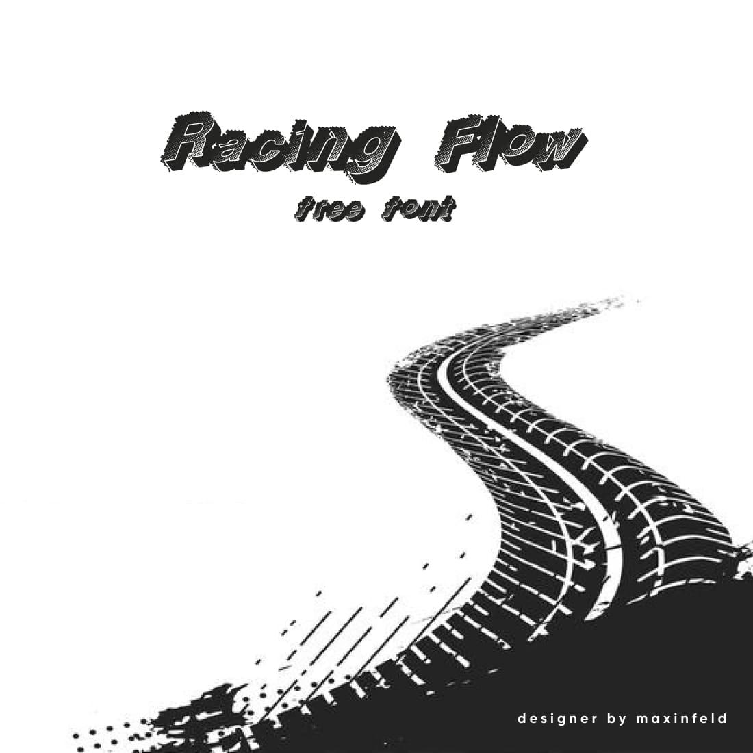MasterBundles Racing Font Free Black and White Cover.