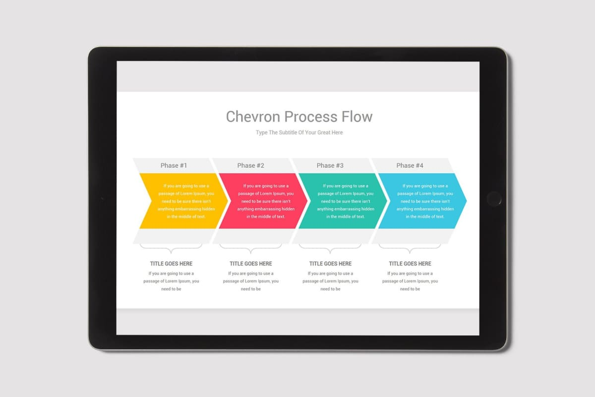 Chevron Process Flow PowerPoint by MasterBundles note preview mockup image.