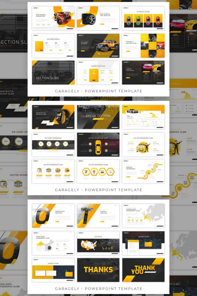 Garagely Automotive Presentation by MasterBundles Pinterest Collage Image.