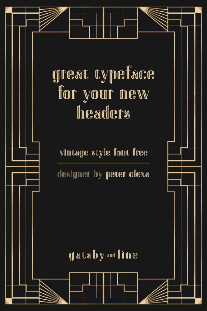 Pinterest Preview for Vintage Gatsby Font Free by MasterBundles.