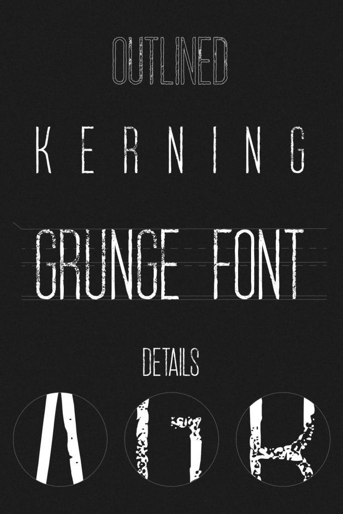 MasterBundles Grunge Font Free Dark Pinterest Collage Image.