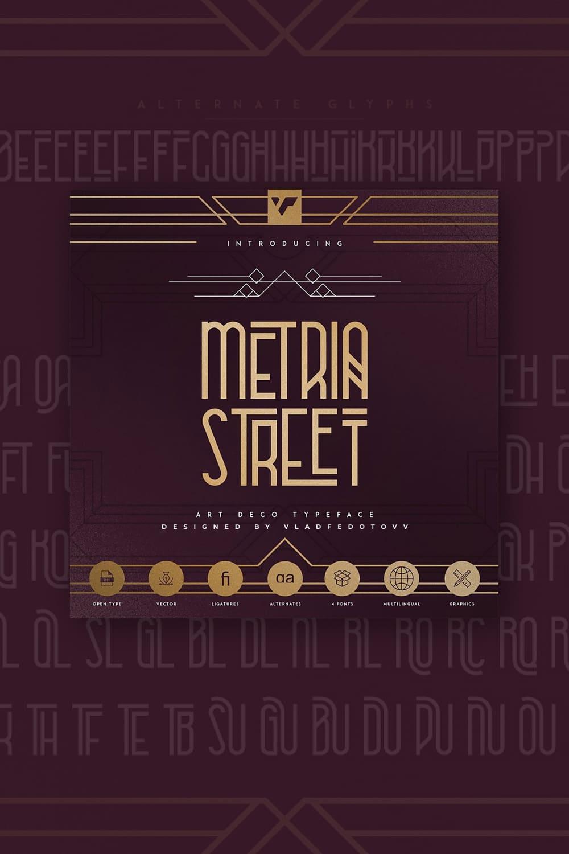 03. Metria Street – Art Deco Typeface  and illustrations  Pinterest.