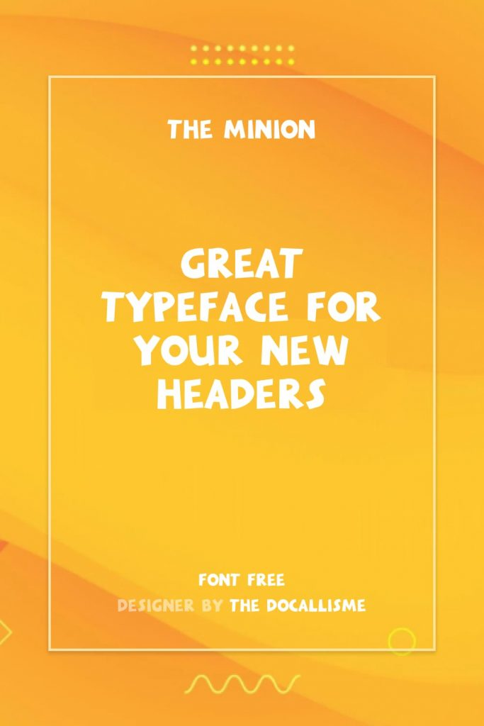 MasterBundles Minions Font Free Pinterest Preview with Phrase Example.