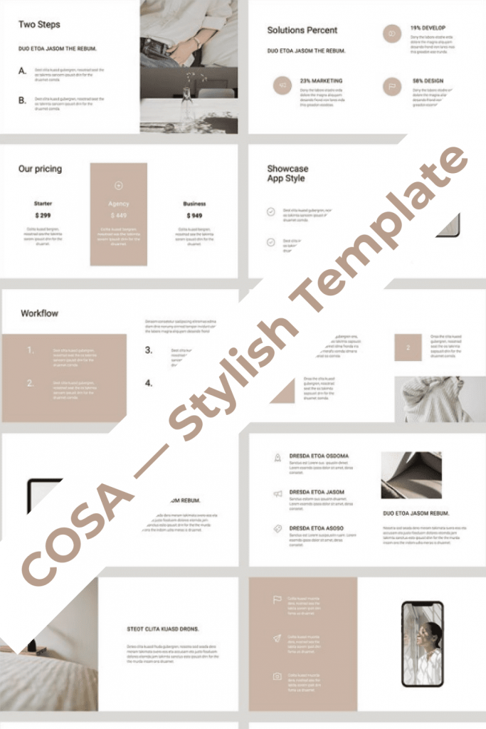 COSA - Keynote Style Template by MasterBundles Pinterest Collage Image.