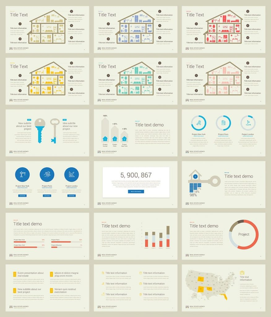 Real Estate PowerPoint Template graphs and charts included.