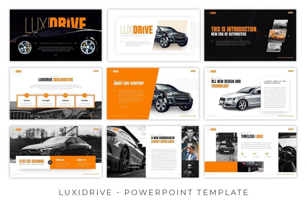 64 multipurpose slides Luxidrive Automotive Presentation.