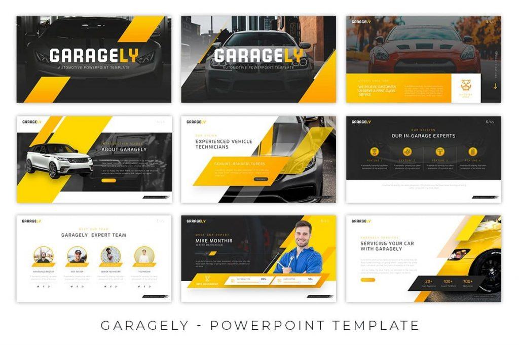Garagely Automotive Presentation welcome slides.