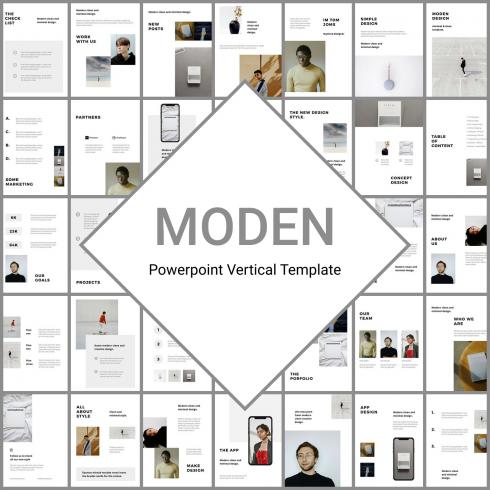 MODEN - Powerpoint Vertical Template by MasterBundles.