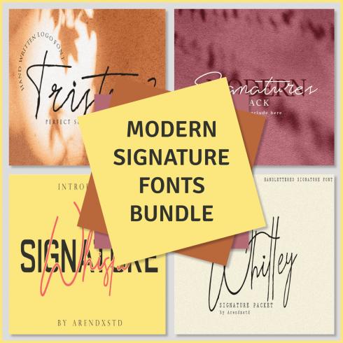 Modern Signature Fonts Bundle preview image.