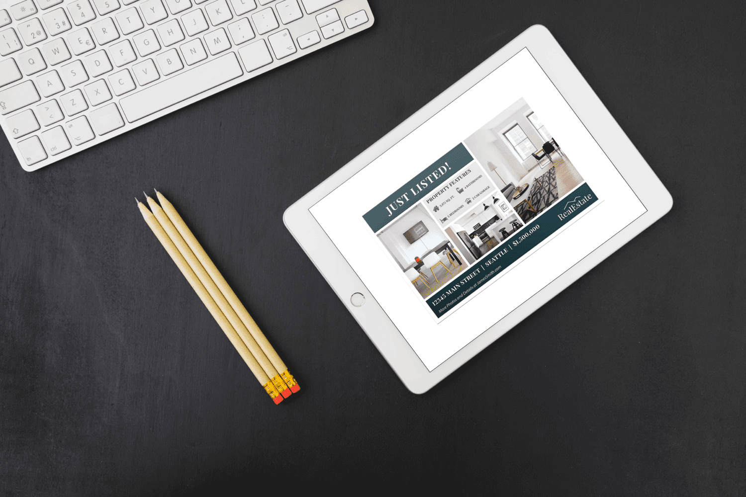 Tablet option of the Real Estate Postcard Template No.1 by MasterBundles.