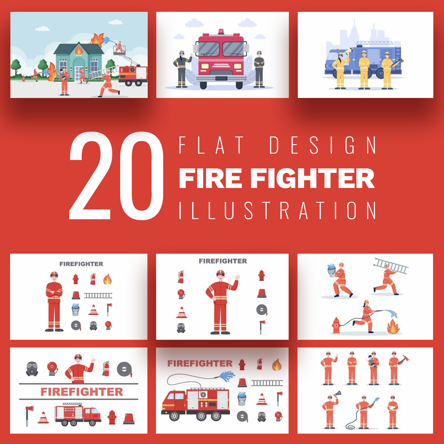 20 Group of Firefighters Illustration cover image.