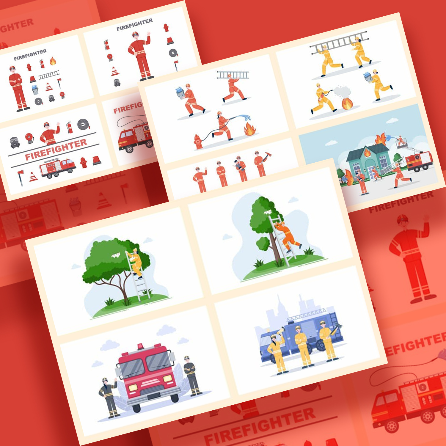 20 Group of Firefighters Illustration preview image.