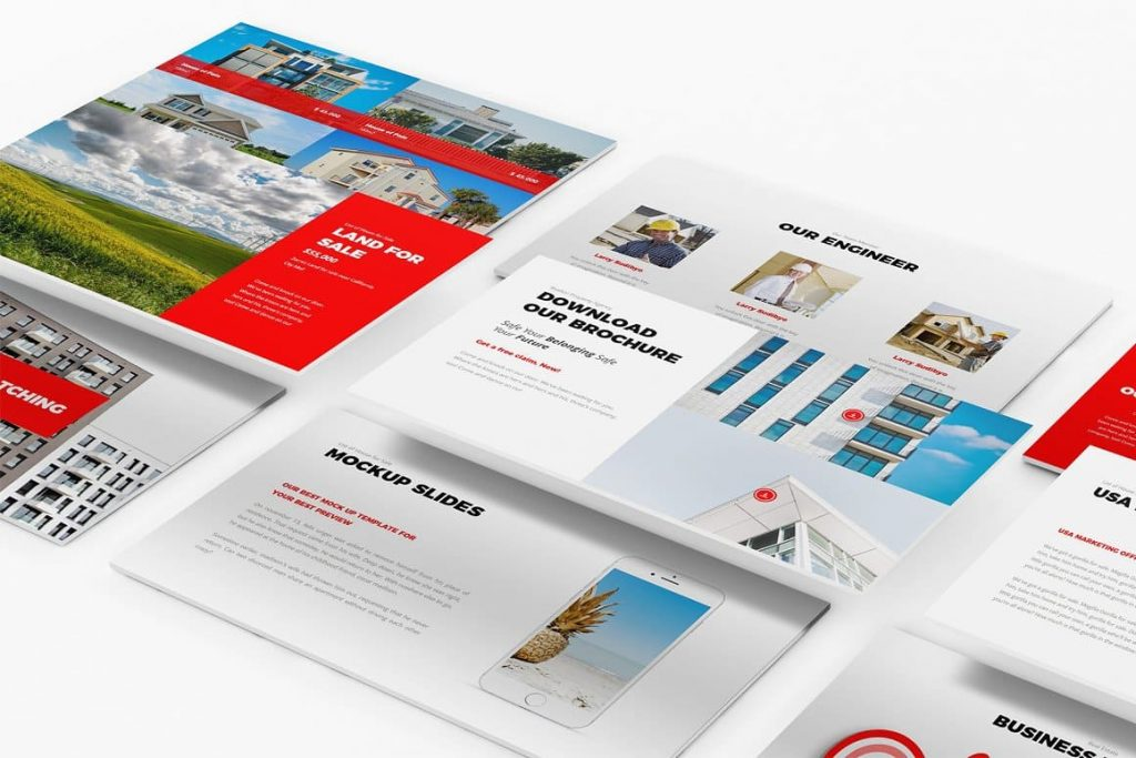 Mockup devices are included in the Real Estate Google Slides Template presentation.