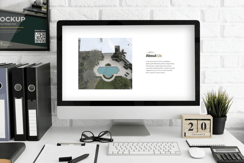 Modern Real Estate Google Slides by MasterBundles Desktop preview mockup image.
