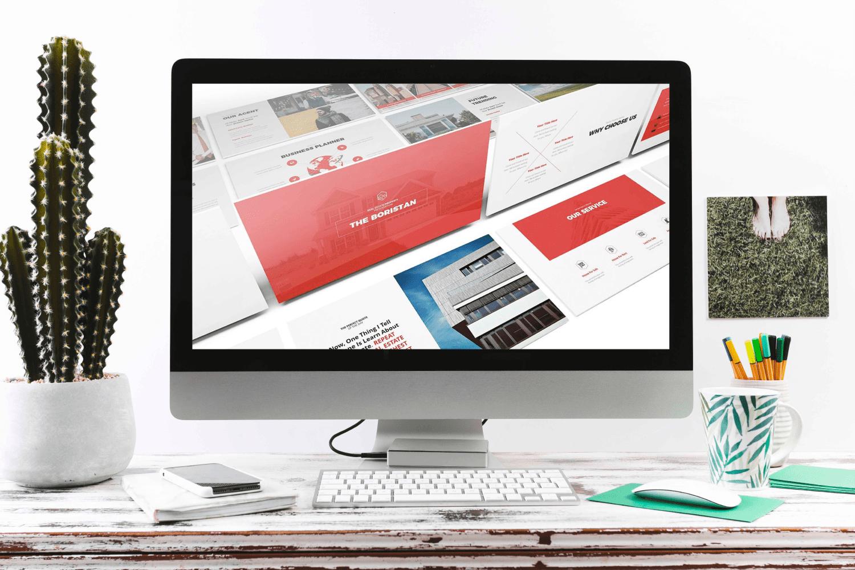 Real Estate Google Slides Template by MasterBundles Desktop preview mockup image.
