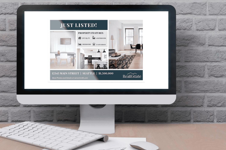 Desktop option of the Real Estate Postcard Template No.1 by MasterBundles.