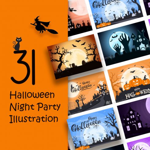 31 Halloween Night Party Illustration preview image.