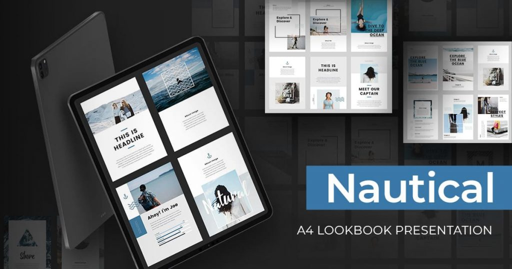 Nautical - A4 Printable PowerPoint by MasterBundles Facebook Collage Image.