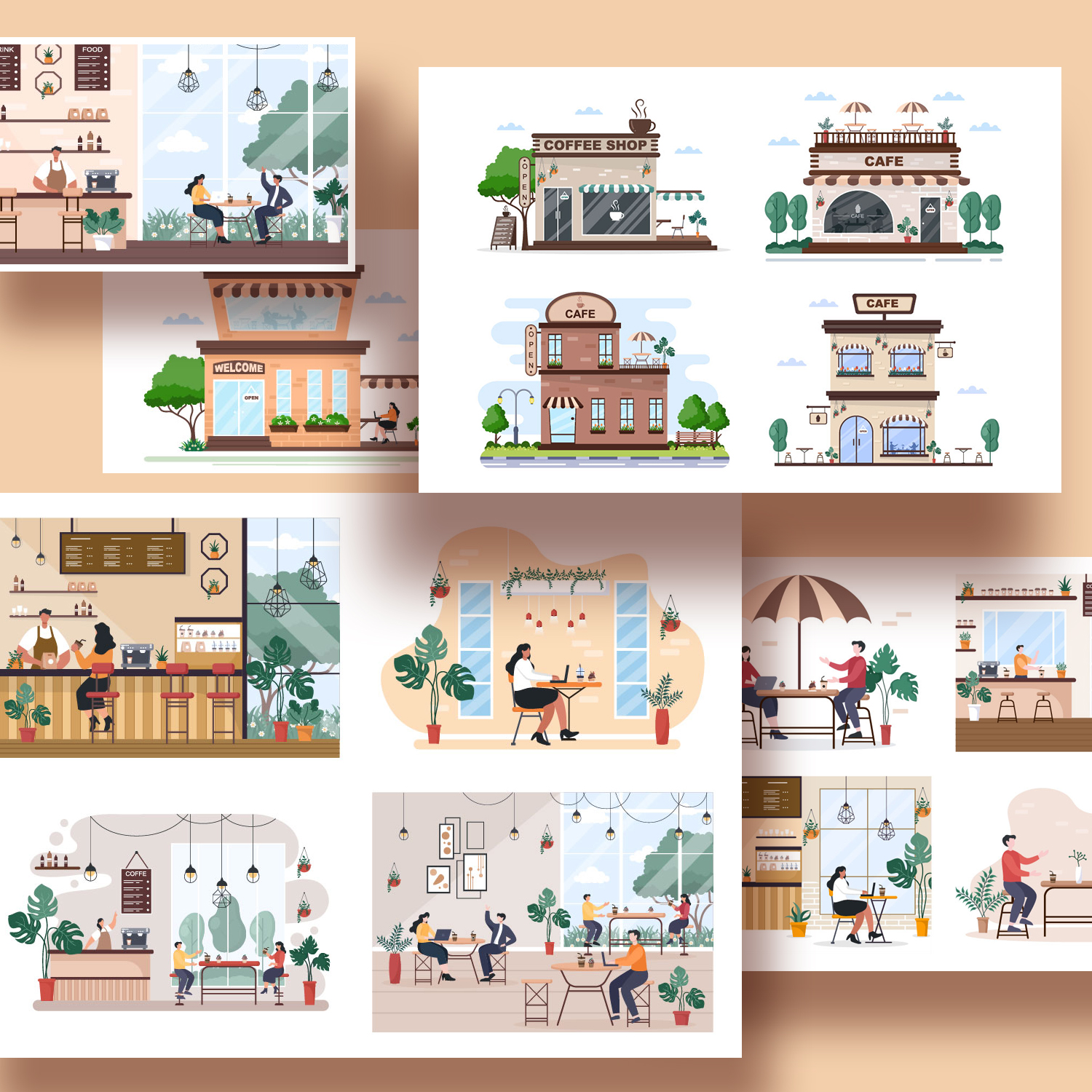 19 Cafe or Coffee Shop Illustrations cover image.