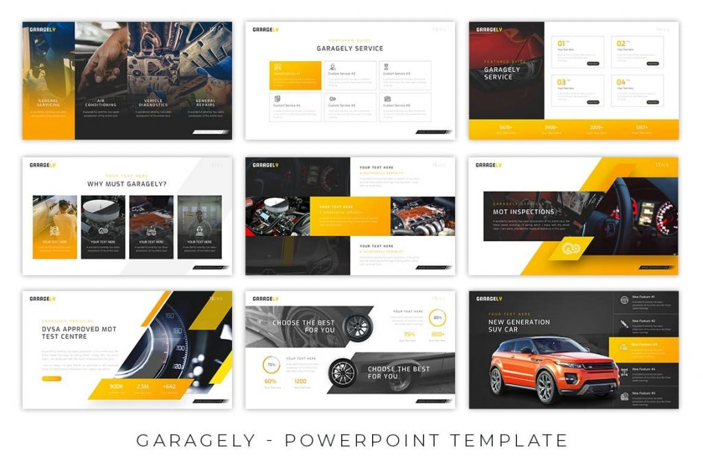 Dark and Light Background Option Garagely Automotive Presentation.
