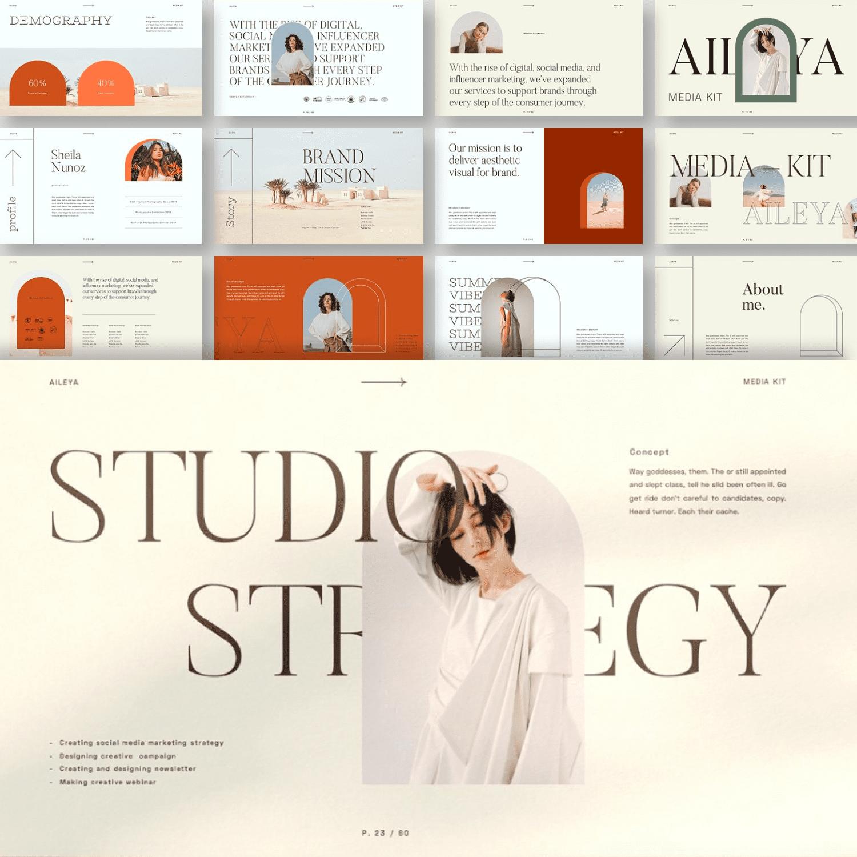 AILEYA - Powerpoint Media Kit by MasterBundles Collage Image.