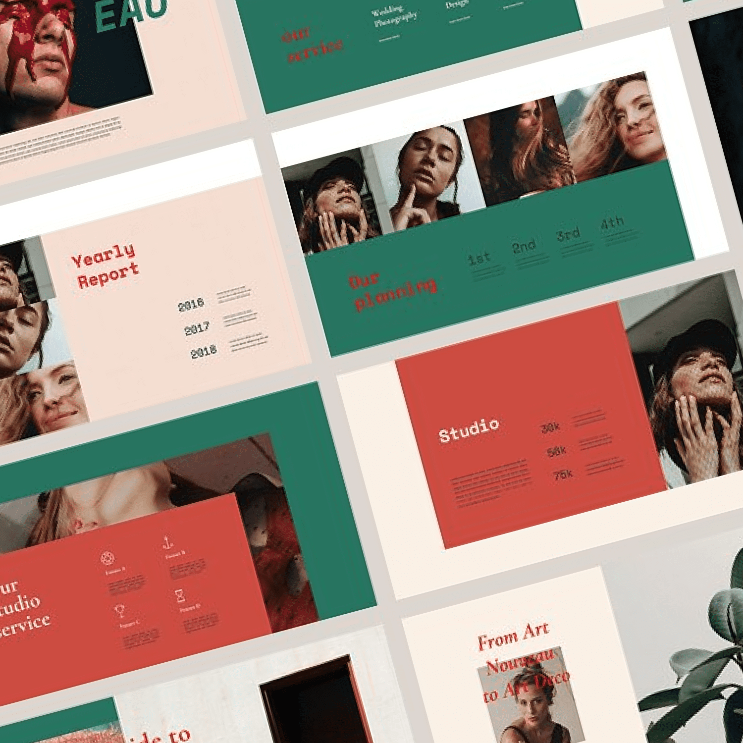 FEUILLA - Powerpoint Template by MasterBundles Collage Image.