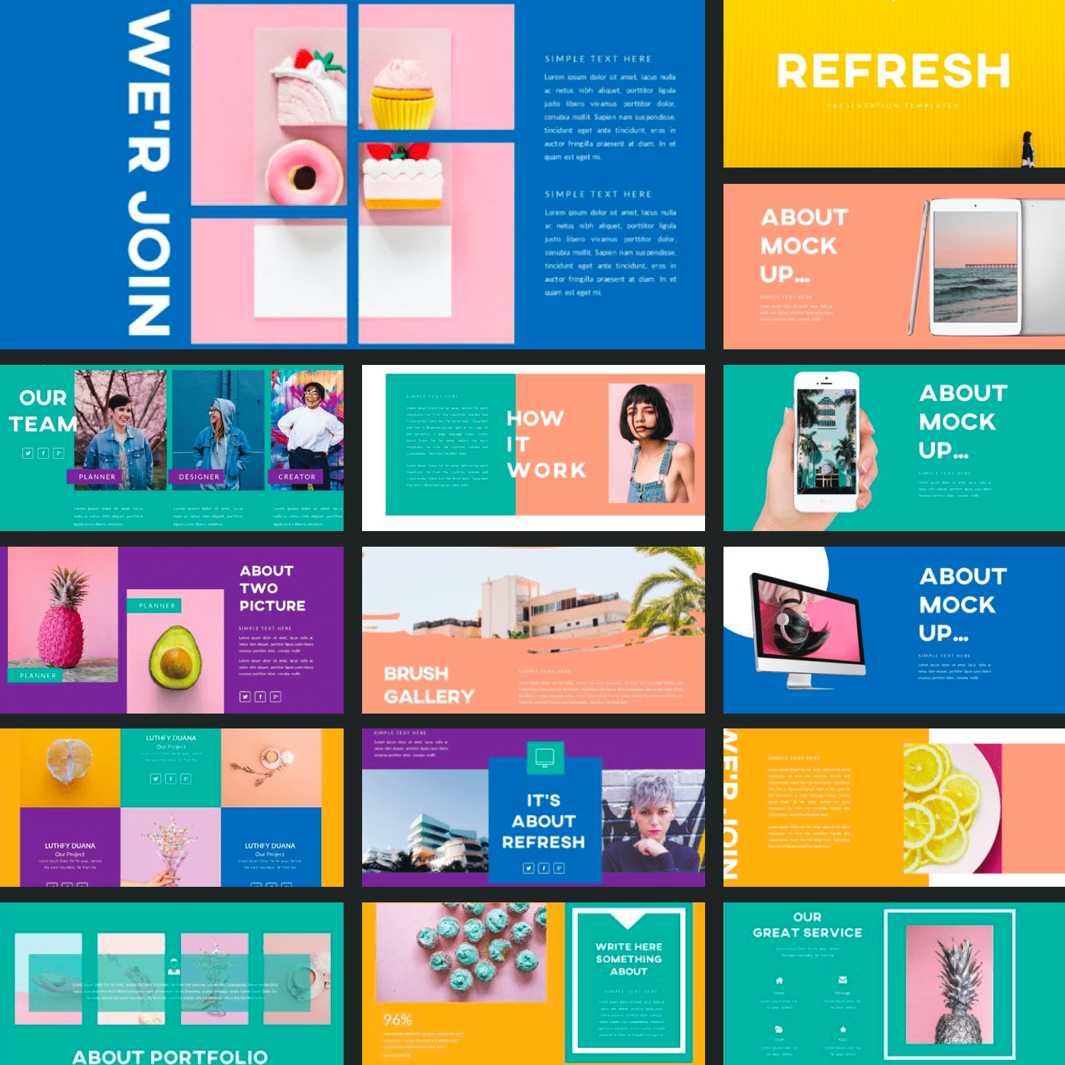 Refresh Powerpoint Template by MasterBundles Collage Image.