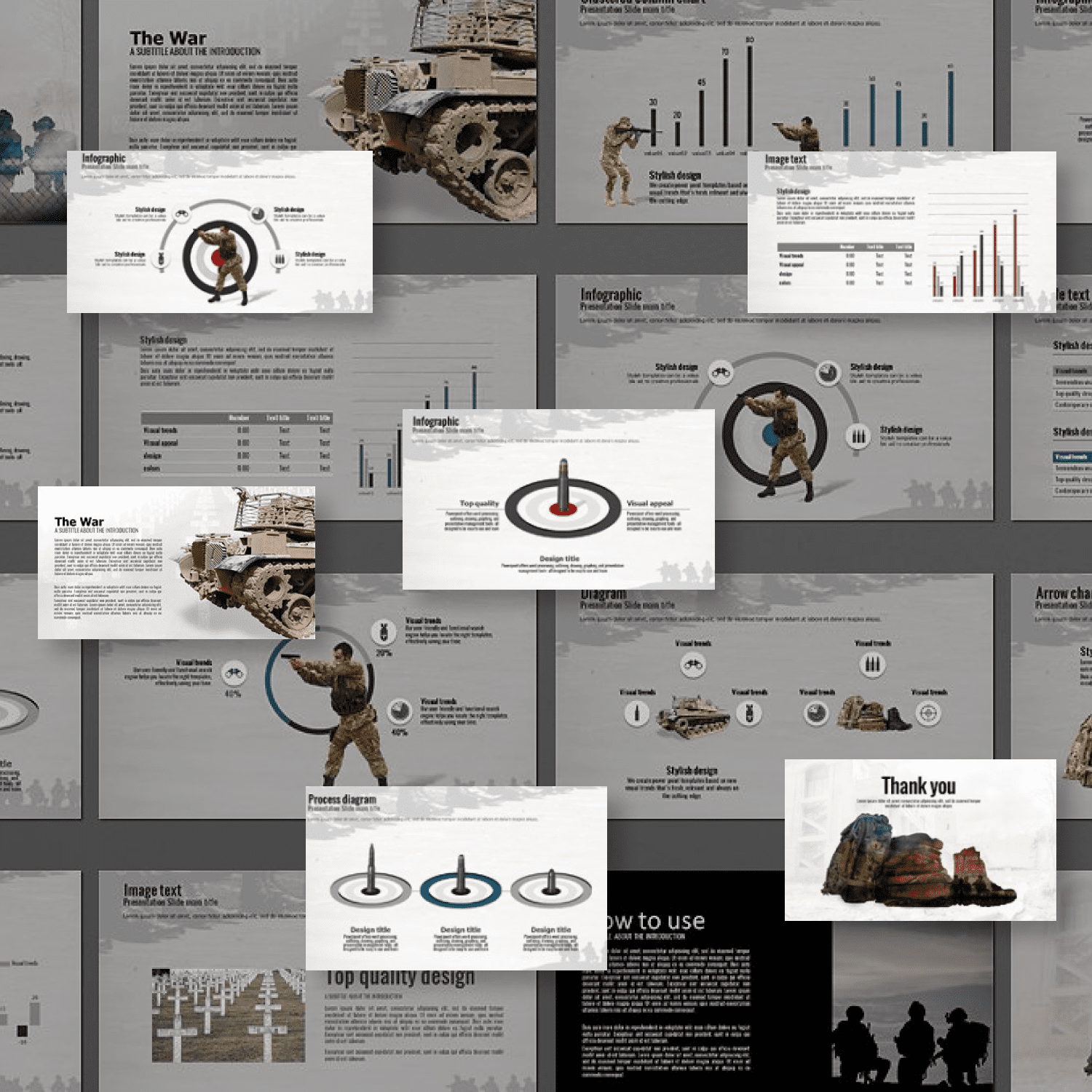 The War Powerpoint Presentation Template by MasterBundles Collage Image.
