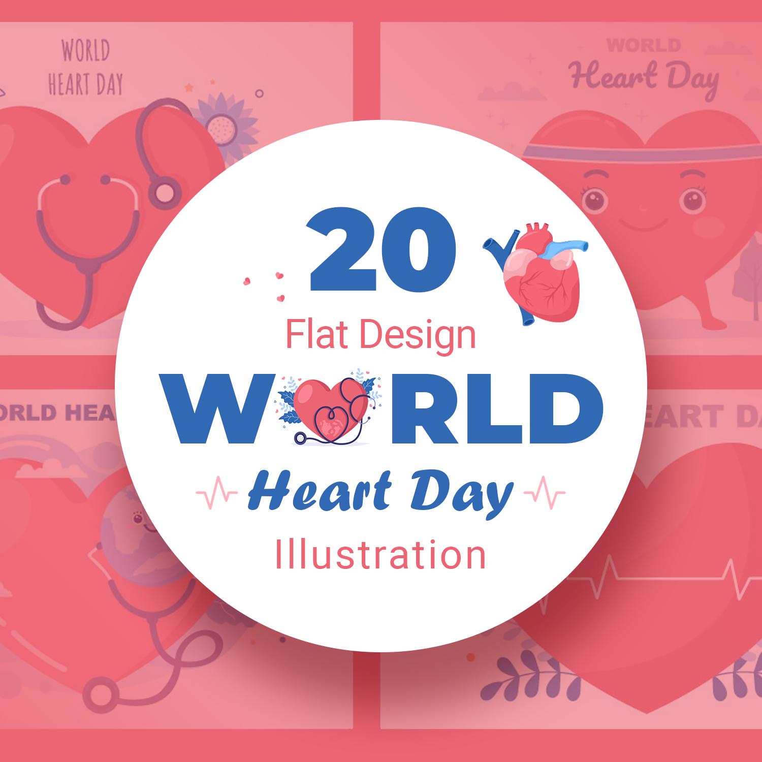 20 World Heart Day Illustrations preview image.