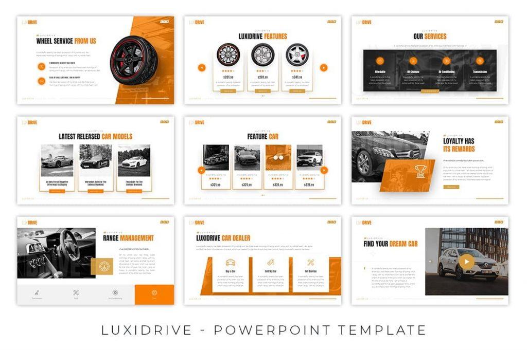 Handmade infographics Luxidrive Automotive Presentation.
