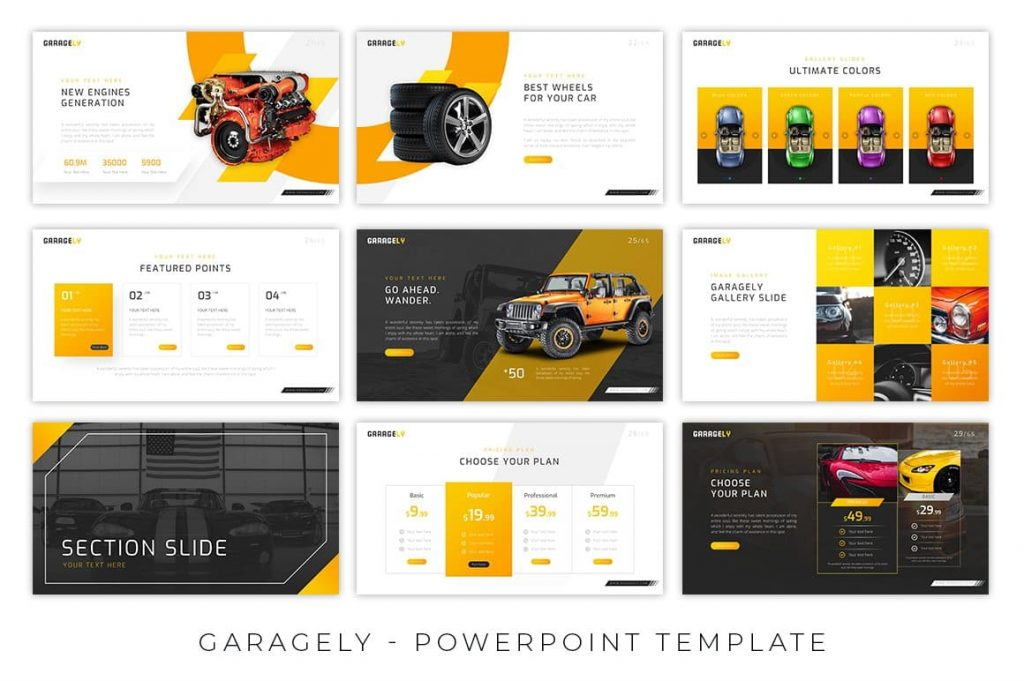 Animated Slides Garagely Automotive Presentation.