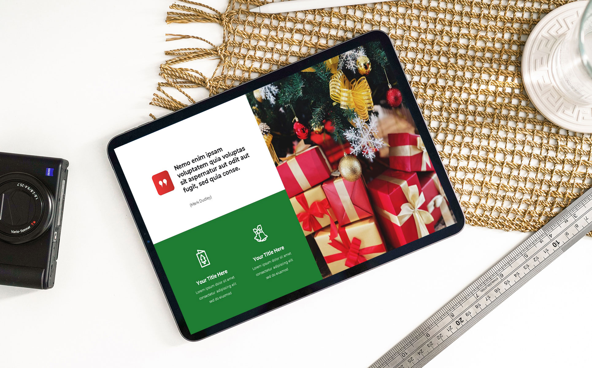Merry Christmas Powerpoint Presentation Template mockup iPad.