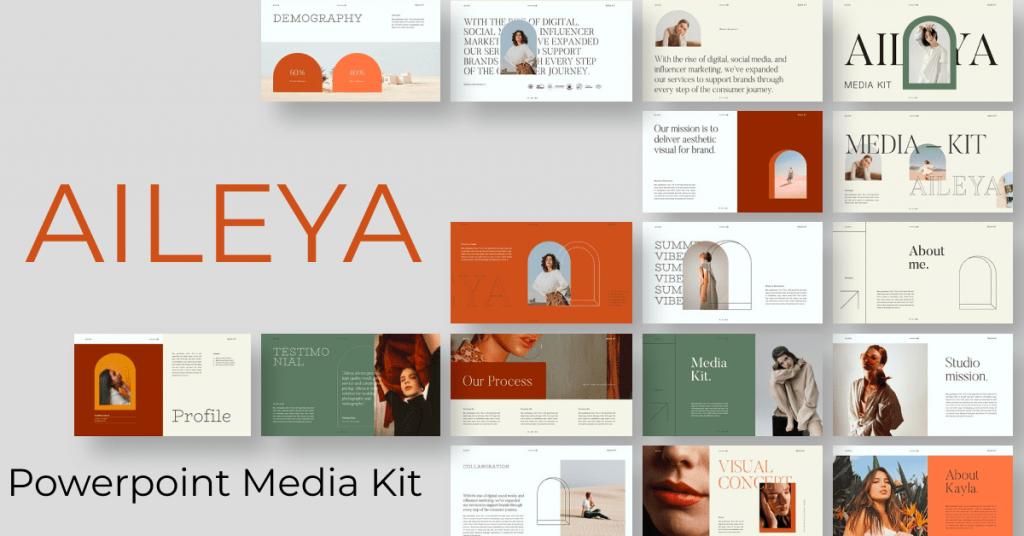 AILEYA - Powerpoint Media Kit by MasterBundles Facebook Collage Image.