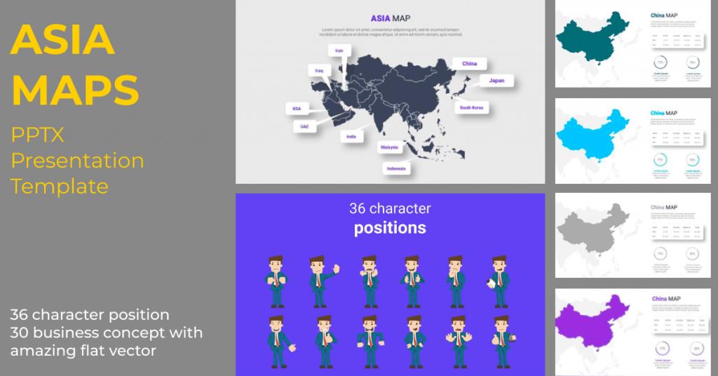Asia Maps PPTX Presentation Template by MasterBundles Facebook Collage Image.