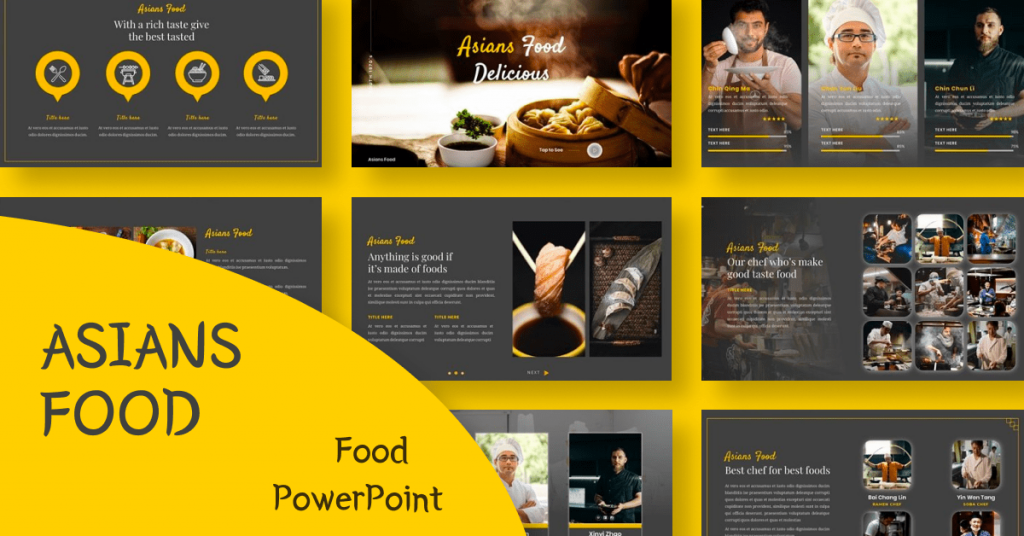 Asians Food - Food PowerPoint by MasterBundles Facebook Collage Image.
