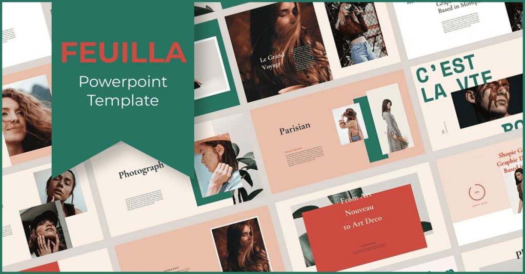 FEUILLA - Powerpoint Template by MasterBundles Facebook Collage Image.