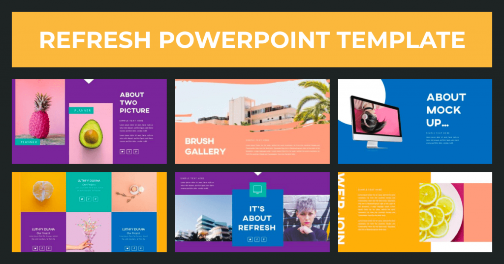 Refresh Powerpoint Template by MasterBundles Facebook Collage Image.