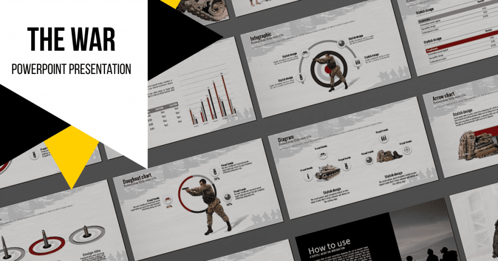 The War Powerpoint Presentation Template by MasterBundles Facebook Collage Image.