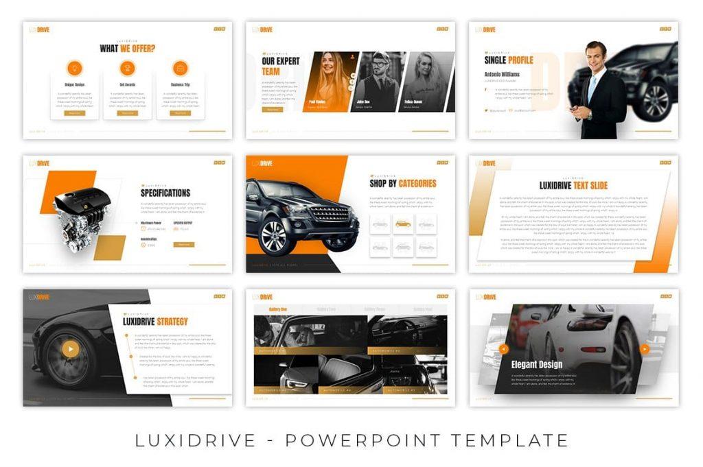 Light and dark background Luxidrive Automotive Presentation.