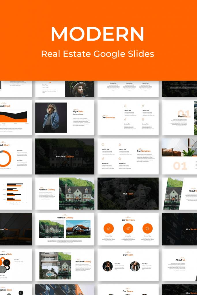Modern Real Estate Google Slides by MasterBundles Pinterest Collage Image.