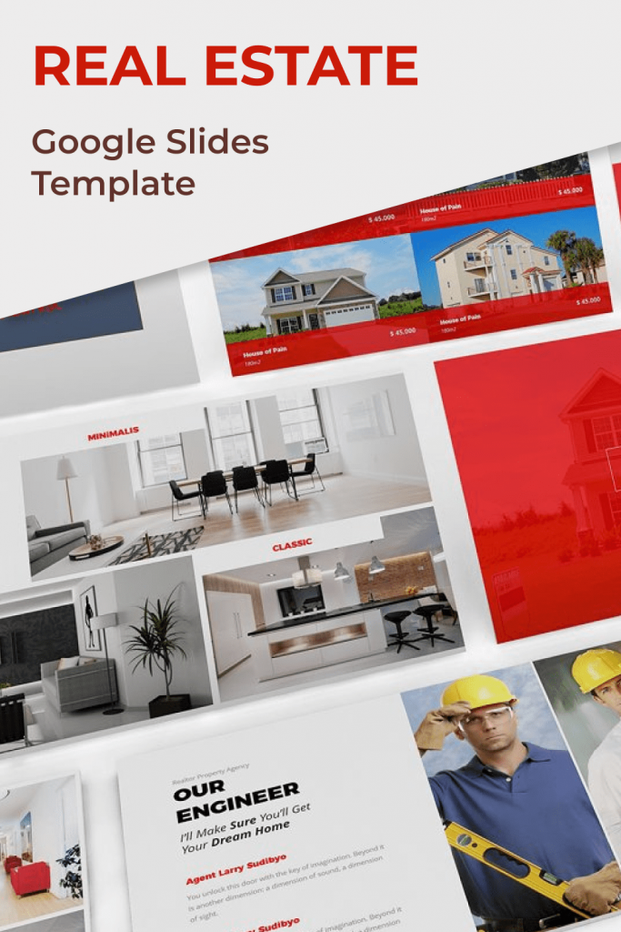 Real Estate Google Slides Template by MasterBundles Pinterest Collage Image.
