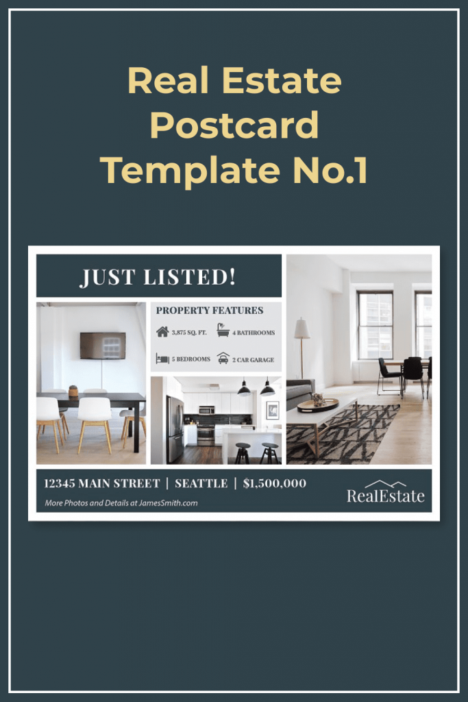 Real Estate Postcard Template No.1 by MasterBundles Pinterest Collage Image.
