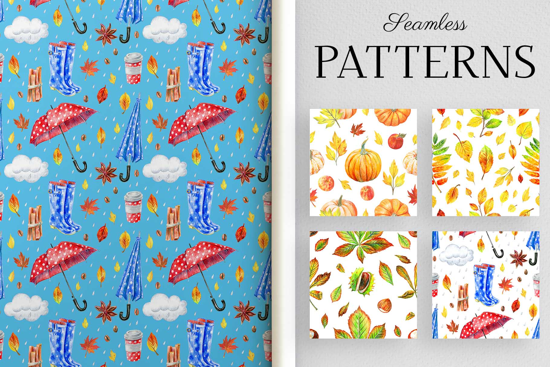 autumn patterns collections with leaves and mushrooms.