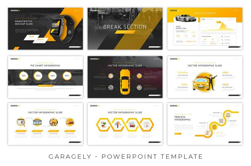 Creative and Professional Themes Garagely Automotive Presentation.